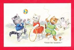 Animaux-562Ph71  Chats Humanisés, Chats Qui Jouent Au Cerceau, Au Ballon Avec Une Toupie - Katten