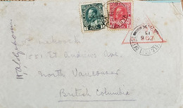 A) 1915, CANADA, CENSOR MILITARY, JORGE V, LETTER SHIPPED TO BRITISH COLUMBIA, RED TRIANGULAR CANCELLATION, XF - Cartas