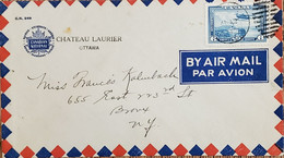 A) 1938, CANADA, MONOPLANE AND STEAM BOAT, FROM OTTAWA TO NEW YORK, AIRMAIL, OVAL CANCELLATION SEAL, XF - Cartas