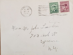 A) 1944, CANADA, JORGE V IN MILITARY UNIFORM, FROM KINGSTON TO NEW YORK, CANCELLATION, XF - Cartas