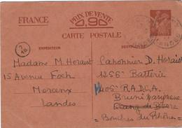IRIS SANS-VALEUR CP1 - MORCENX 3 Octobre 1940 Pour Étang-de-Berre Puis Marignanne - Standard Postcards & Stamped On Demand (before 1995)