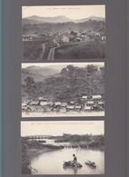 Indo Chine / Lot De 3 CP / Bao Havillage Muong, Yen Bay, Gare, Sontay, Barrage De Tong, Bain Des Buffles - Autres