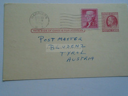 D179016 US Uprated Postal Stationery - Cancel 1955 HARRISON  Sent To  Postmaster BLUDENZ  Tirol -Austria - 1941-60