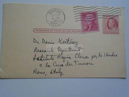 D179017 US Uprated Postal Stationery - Cancel 1957 Boston - Richard Masters To Dr. Denis Kertész   Italy - 1941-60
