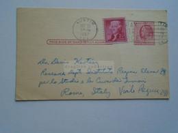 D179022 US Uprated Postal Stationery - Cancel 1957 Austin Terxas   R.E. Alston -   To Dr. Denis Kertész   Italy - 1941-60