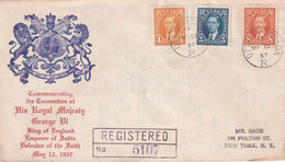 CANADA 1937 LETTRE RECOMMANDEE DE OTTAWA AVEC CACHET ARRIVEE NEW YORK - Cartas