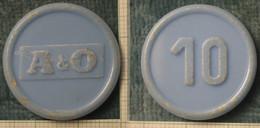 """M_p> Gettone Supermercato A & O , Al Retro Cifra """" 10 """" In Plastica Azzurra - Monetary/Of Necessity"""