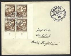 ALLEMAGNE 1939: LSC De Kaaden Pour Karlsbad Avec Bloc De 4 Du Z 684 Avec Marque De Propagande Nazie - Storia Postale