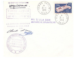 TAAF TERRE ADELIE 31 01 1970 THALA DAN SIGNEE GUILLARD - Cartas