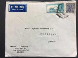 INDIA 1938? George VI Air Mail Cover Bombay To Stockholm Sweden - 1936-47 King George VI