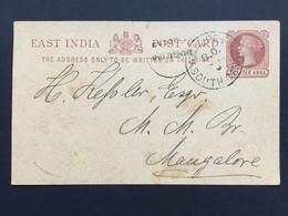 INDIA 1893 Victoria Pre-paid Stationary Cover South Canara To Mangalore - 1882-1901 Empire