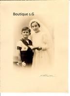 Photo Personne Enfant Fille Garcon Famille Communion Studio Detaille Marseille Portrait Art 1938  24.5x18.5cm - Anonymous Persons