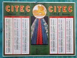 Grand Calendrier De Bureau 1958 CITEC Boussac AOF AEF Afrique - Compagnie De L'industrie Textile Cotonnière - Big : 1941-60