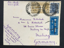 INDIA 1934 George V Cover With Bombay Foreign Double Circle Marks Air Mail To Freiburg Germany - 1911-35 King George V