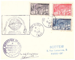 TAAF TERRE ADELIE 15 01 1958 AVEC N° 8 9 10 SIGNEE ROUILLON - Covers & Documents