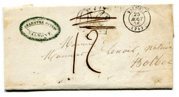 Lettre Avec Texte Valmont/Bolbec Taxe 30 Annulée Et Taxe 12 Décimes 25 Août 1856 TB - 1849-1876: Classic Period