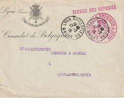 WW1 SERVICE DES REFUFGIES BELGES CONSULAT DE BELGIQUE A LYON 17 2 15 - WW I