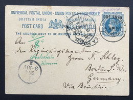INDIA 1897 Victoria Stationary Cover Lohardaga To Berlin Germany Wwith Sea Post And Bestellt Marks - 1882-1901 Empire