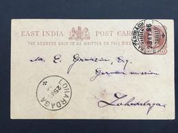 INDIA 1896 Victoria 1/4 Anna Pre-paid Stationary Cover Hazaribagh To Lohardaga - 1882-1901 Empire
