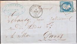 Lettre Du 6 Novembre 1857 , Petit Chiffre  702, Chalons-sur-Saone, Département 70 - 1849-1876: Klassieke Periode