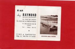 94----VINCENNES---BAR Chez RAYMOND---calendrier 1959-( ARCACHON, Parc à Huitres )---voir 2 Scans - Small : 1941-60