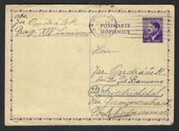 BOHEME Et MORAVIE 1945: CP Entier De 60h De Prague (Bohème, Alors Plus Sous Protectorat Allemand !) - Storia Postale
