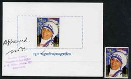 "Bangladesh 1999 Mother Teresa Commemoration Imperf Proof Of 4t Mounted In Folder ""Specimen For Approval"" - Bangladesh"