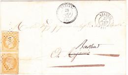 Paire Verticale Napoleon N°13B Petit Chiffre 3554 Vezzani Corse Type 22 - 1849-1876: Klassik