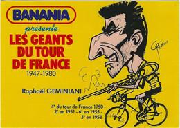 CYCLISME. Carte BANANIA Tour De France 1981 De Raphaël GEMINIANI (dessin De Pellos). - Cycling