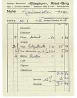 Facture - Hotel- Restaurant SIMPLON RIED-BRIG - Valais Suisse  1965 - Switzerland