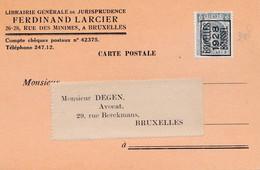Gelopen Kaart Uit Brussel Met Preo  ( Typo ) 172B  Uit 1928 - Unclassified