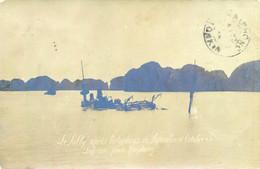 "1905 CP PHOTO "" LE SULLY APRES TYPHONS .. OCTOBRE 05 "" TONKIN HAIPHONG Croiseur - Vietnam"