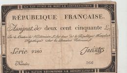 ASSIGNAT De Deux Cent Cinquante Louis - 7 Vendémiaire De L'an 2 De La République Française - Assignats & Mandats Territoriaux