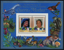 Tuvalu Nui Mushroom Champignon Concorde Queen Mother Ecureuil Souvenir Sheet MNH - Champignons