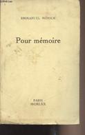 Pour Mémoire - Mönick Emmanuel - 1970 - Livres Dédicacés