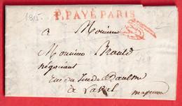 MARQUE P PAYE PARIS 1815 EN ROUGE POUR LAVAL MAYENNE - 1801-1848: Precursors XIX