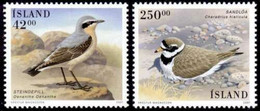 Iceland 2001 MiNr. 996 - 997  Island Common Wheatear, Plover Birds X  2v  MNH** 7.50 € - Nuovi