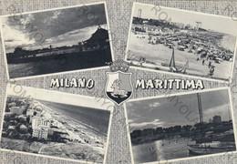 CARTOLINA  MILANO MARITTIMA,RAVENNA,EMILIA ROMAGNA,MARE,SOLE,BARCHE A VELA,BAGNI,LIDO,SPIAGGIA,VIAGGIATA 1970 - Ravenna