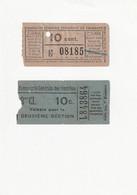 2 Tickets Anciens. TRAMWAYS De Paris.  Voir Description - Europe