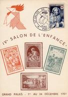 FRANCE -2 Cartes Et Oblitération Du IV Salon De L 'Enfance - GRAND PALAIS 1er Au 24 Décembre 1951 - 1921-1960: Periodo Moderno