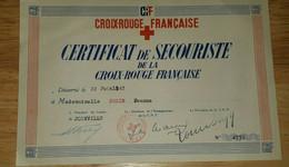 """CERTIFICAT DE SECOURISTE DE LA CROIX ROUGE FRANCAISE""""1942""""joinville""""13,5 X 21 Cm""""CRF"""" - Diploma & School Reports"""