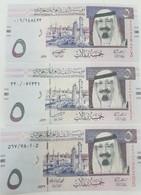 Saudi Arabia 5 Riyals 2007,2009,2012 UNC 3 Notes P-32 A,b,c - Saudi Arabia