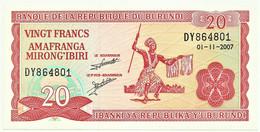 BURUNDI - 20 FRANCS - 01.11.2007 - Pick 27.d - UNC. - Série DY - Burundi