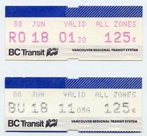 2 X Vancouver BC Transit Tickets 1988 - World