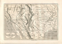 Original Antique Print 1860 USA Mexico Map - Geographical Maps