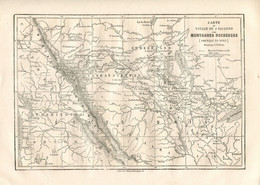 Original Antique Print 1860 USA Rocky Mountains Map - Geographical Maps