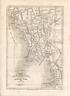 Original Antique Print 1860 Kingdom Of Awa Burma Myanmar  Map - Geographical Maps