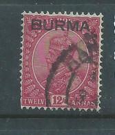 Burma GVR, 1937, 12 Annas, Used - Burma (...-1947)