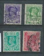 Burma GVIR, 1938, 3p, 9p, 1 1/2a, 2a,  Used - Burma (...-1947)