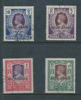 Burma GVIR, 1945, Military Administration, 1R, 2R, 5R, 10R, Used - Burma (...-1947)